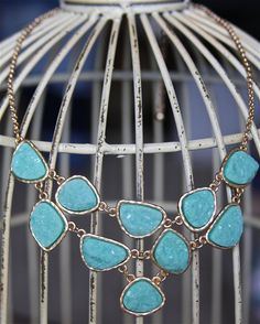 Turquoise Statement Necklace Faux Druzy, $38.0 https://www.goodsmiths.com/stitch-and-stone/turquoise-statement-necklace-faux-druzy--2
