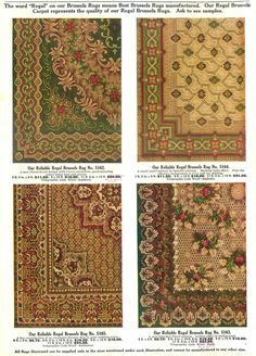 "Examples of Reliable Regal Brussels' Rugs from a Hilger Bros. Furnishing catalog (1910). The word ""Regal"" meant best brussels rugs manufactured."