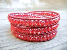 Beaded Leather Wrap Bracelet 3 Wrap with Ruby by BraceletsByBetz