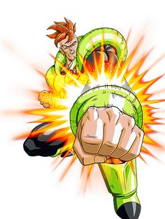 Artwork oficial sobre el Androide Número 16. Sacado del videojuego Dragon Ball Z: Dokkan Battle.