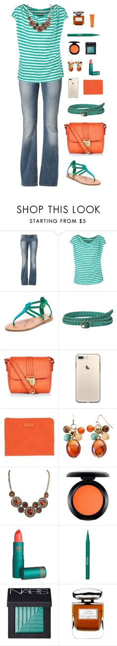 """Orange and Teal"" by claragrauer ❤ liked on Polyvore featuring FRACOMINA, MUSTANG, K. Jacques, Uniqlo, Accessorize, Marc by Marc Jacobs, MAC Cosmetics, Lipstick Queen, Stila and NARS Cosmetics"