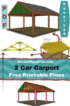 I have designed a super sturdy carport that can accommodate 2 cars. The carport . - shed plans - I have designed a super sturdy carport that can accommodate 2 cars. The carport has a gable roof an - Carport Sheds, Rv Carports, 2 Car Carport, Carport Plans, Double Carport, Carport Garage, Pergola Carport, Pergola Plans, Shed Plans