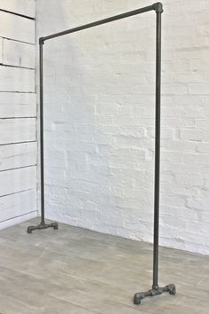 Inspiration: Gazman. Floor racks. Would be good if they could come in different sizes. would like something smaller   Dark Steel Pipe Simple Elegant Freestanding Clothes Rail, Clothes Rack - Bespoke Urban Industrial Bedroom Furniture or Shop Fittings