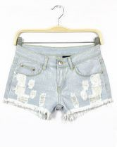 Light Blue Ripped Pockets Denim Shorts $20.65
