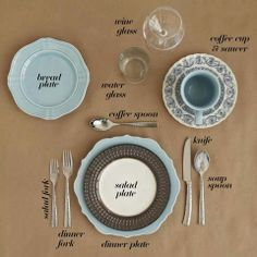 How to set a semi-formal dinner table setting. (Dessert fork goes under coffee spoon prongs facing tip of the knife)