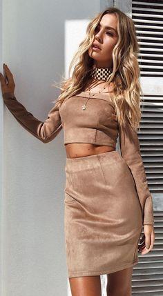 #spring #outfits Mocha Off The Shoulder Java Suede Top & Skirt 🔥