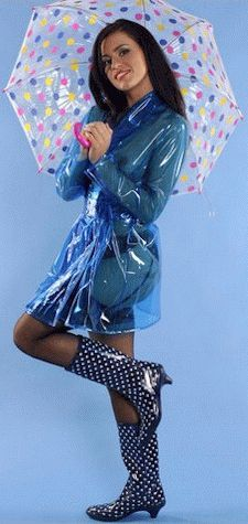 ☂ Transparent Clear Blue PVC Raincoat