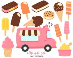 SALE Ice Cream Truck Summer Ice Cream  Cute by EmilyPetersonStudio
