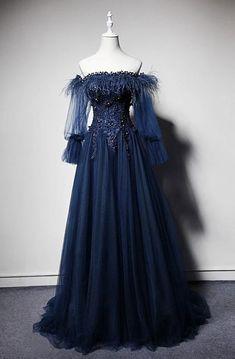 Dark blue off shoulder tulle long prom dress, blue evening dress Navy Prom Dresses, Blue Evening Dresses, Prom Dresses With Sleeves, Ball Dresses, Pretty Dresses, Beautiful Dresses, Sexy Dresses, Summer Dresses, Dress Prom