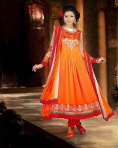 Stylish Orange Resham Embroidered Anarkali Suit