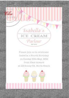 Ice cream Parlour Party Birthday Invitation Customised DIY Printable. $14.00, via Etsy.