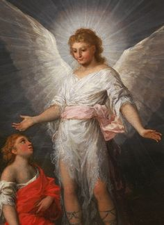 Tobias And The Angel Francisco Goya St Raphael, Archangel Raphael, Francisco Goya, Tobias, Types Of Angels, Angel Protector, Angels In Heaven, Heavenly Angels, Angels Beauty