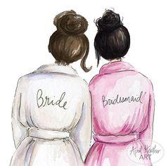 Bridesmaid PDF Download Dark Brunette Bride by aprilheatherart