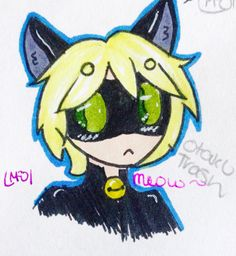 My half of le Art trade featuring *dramatic pause* Chat Noir! for OtakuTrash! Welcome back friendo •3•