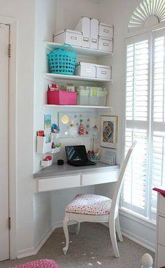 Little Girl's Room Revamped to Bright and Bold Tween Room Organized children's desk nook. The Creativity Exchange Girls Bedroom Storage, Bedroom Desk, Kids Bedroom, Bedroom Small, Kids Rooms, Bedroom Corner, Bedroom Black, Boy Rooms, Room Kids