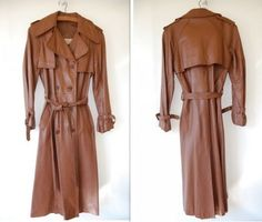 Make an Offer -- Vintage Brown Leather Trench Coat Jacket -- 1960s -- Size Medium on Etsy, $150.00