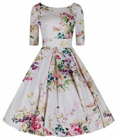 Vintage clothing collections including Fifties Dresses, the Swing Dress, Floral Tea Dress and more vintage fashion dresses in the UK. Floral Dresses With Sleeves, Floral Tea Dress, Dresses Uk, Evening Dresses, Casual Dresses, Fashion Dresses, Pretty Outfits, Pretty Dresses, Beautiful Dresses
