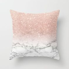 Modern faux rose pink glitter ombre white marble Throw Pillow by Girly Trend