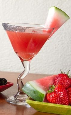 The drink is made with 1800 Reposado Tequila, Cointreau, Domaine de Canton, lime juice, fresh watermelon and black sea salt.