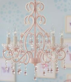Pink Lydia Chandelier from Pottery Barn Kids. Shop more products from Pottery Barn Kids on Wanelo. Girls Chandelier, Nursery Chandelier, Bedroom Chandeliers, Small Chandelier Bedroom, Small Chandeliers, Chandelier Lighting, Chandelier Ideas, Painted Chandelier, Elegant Chandeliers