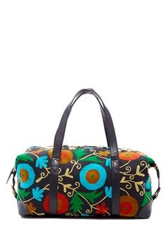 Embroidered Leather Travel Bag