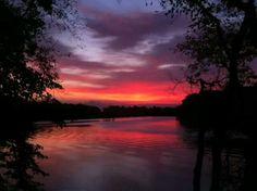 Sunrise over St. Joseph river near Mendon Michigan- Oct 2013