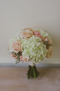 hydrangea bouquet - reminds me of my bouquet except my roses were ivory. Hydrangeas take up a lot of space in a bouquet, making it cost a little less. ;)