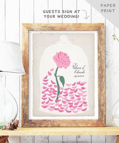 Beauty and The Beast Wedding Guest Book Alternative Enchanted Rose Petals - Fairytale Wedding Guest Book - Be our Guest - PAPER print