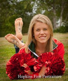 Maybe with soccer ball and cleats in front love the bare feet! Unique Senior Pictures, Senior Photos Girls, Senior Girl Poses, Senior Girls, Cheer Picture Poses, Cheer Poses, Picture Ideas, Photo Ideas, Cheerleading Pictures