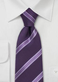 Italian Striped Tie in Lavender