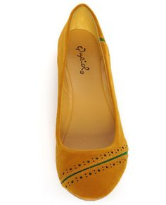 Qupid Thesis 173 Mustard Angora Perforated Ballet Flats