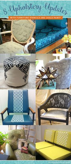8 Jaw Dropping Painted Upholstery Makeovers with Furniture Stencils and Chalk Paint by Annie Sloan - Royal Design Studio DIY Stencils