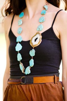 The Turquoise Delight Agate Druzy Statement Necklace by FreshMetal, $54.00