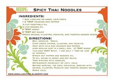 A Small Snippet: Spicy Thai Noodles. Going to use my spiral noodle veggie slicer for the noodles! Healthy Meatloaf, Meatloaf Recipes, Veggie Meatloaf, Clean Eating Recipes, Cooking Recipes, Eating Healthy, Eating Clean, Healthy Snacks, Healthy Deserts