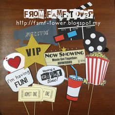 From FAMF Tower: Photo Props - Movie Night. Movie Night Theme Party.