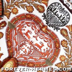 STUNNING detail in this Hermes Paris titled Decoupages Silk scarf by artist Anne Rosat now in store http://forever-hermes.com #foreverhermes Origin of decoupage is thought to be East Siberian tomb art Nomadic tribes used cut out felts to decorate the tombs of their deceased. From Siberia the practice came to China and by the 12th century was being used to decorate lanterns, windows, boxes and other objects. This carre features adorable farm animals cow horse deer swallowtail & lovers…