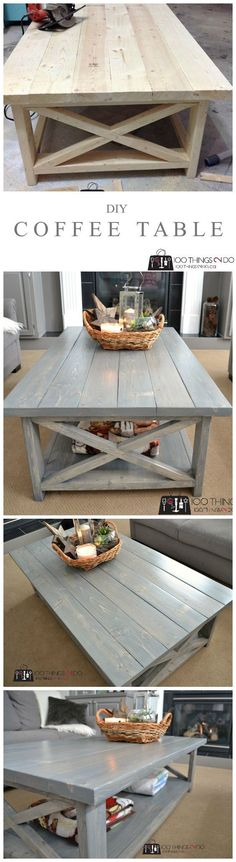 DIY Coffee Table |  Create this custom DIY coffee table in one afternoon. It's big, it's solid and best of all, easy to make.