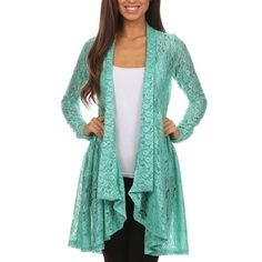 NWT Mint Floral Lace Drape Open Boho Cardigan So adorable! Juniors size XL fits more like a Medium-Large. Brand new with tags. Love it just have so many clothes!!!  Perfect for a festival or Coachella ❤️ so boho chic Sweaters Cardigans