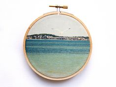 Ocean Photography Seagull Beach Landscape  by JillianAudreyDesigns