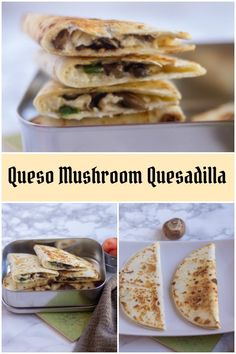Queso Mushroom Quesadilla - delicious quesadilla with mushrooms and jalapenos loaded with the traditional queso fresco/blanco cheese. #lunchboxrecipes #quesadilla