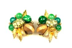Vintage Green Art Glass Wood Lucite Earrings by TheFashionDen