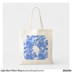 Shop Light Blue White Warp Tote Bag created by SomethingColourful. Funky Design, Budget Fashion, Blue Abstract, Dog Design, Cotton Canvas, Cool Designs, Light Blue, Reusable Tote Bags, Blue And White