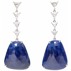 Ri Noor - Sapphire Slice Diamond Earrings ($5,505) ❤ liked on Polyvore featuring jewelry, earrings, blue, gioielli, blue sapphire earrings, 14k diamond earrings, diamond jewellery, earring jewelry and geometric earrings