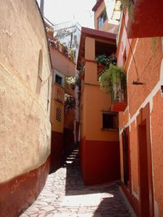 Guanajuato, El Callejón del Beso.   A tradition is that those who visit it must kiss each other, in order they do not suffer for love.