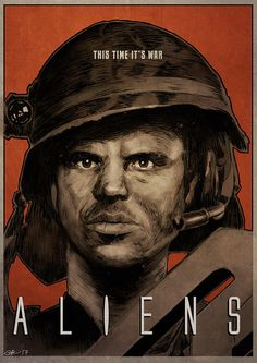 ALIENS - Private Hudson movie poster full colour art print (Bill Paxton) by Mygrimmbrother on Etsy