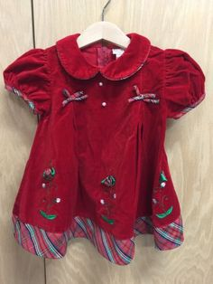 Vintage-BT-Kids-Red-Plaid-Christmas-Toddler-Girls-Dress-Size-18-Months-T156