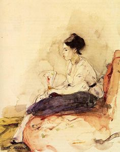 Berthe Morisot 1895 French Impressionist Painter Berthe Morisot painted boldly in a mans art world. Edgar Degas, Renoir, French Impressionist Painters, Berthe Morisot, Mary Cassatt, Edouard Manet, Impressionism Art, Oil Painting Reproductions, Figure Painting