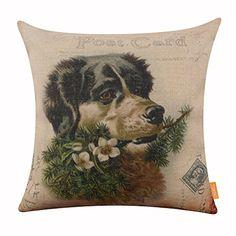 LINKWELL Vintage Merry Christmas Happy Dog Carte Postale Seasonal Decor Accent Home Pillowcase Burlap Cushion Cover Christmas Cushions, Christmas Pillow Covers, Throw Pillow Covers, Pillow Cases, Throw Pillows, Textiles, Boxer Dogs, Happy Dogs, Home Textile