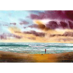 Original Watercolor Painting  seascape fsherman by derekcollins, $68.00