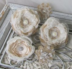 Rhinestone Burlap Fabric Flowers for Cake by Burlap and Bling Design Studio